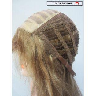 длинный парик из натуральных волос с челкой 100112/26 Mono (русый с мелированием)