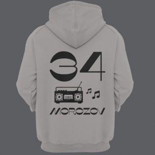 Именная толстовка с капюшоном с винтажным шрифтом и магнитофоном #13