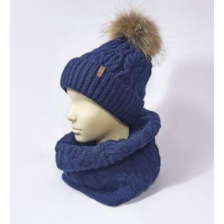Комплект шапка и шарф женский (тёмно-синий)