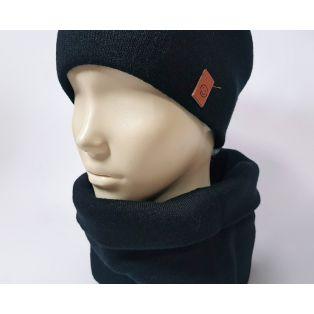 Комплект шапка и шарф зимний унисекс (чёрный)