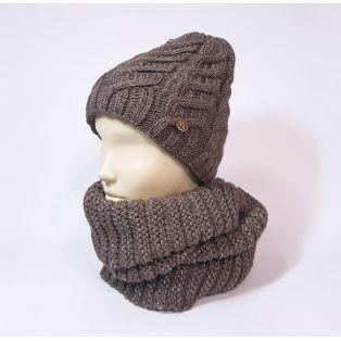 Комплект шапка и шарф зимний (терракотовый)