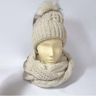 Комплект шапка и шарф женский (серо-бежевый)