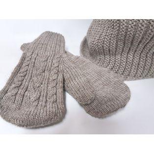 Женский комплект шапка, шарф и варежки (кофейный)