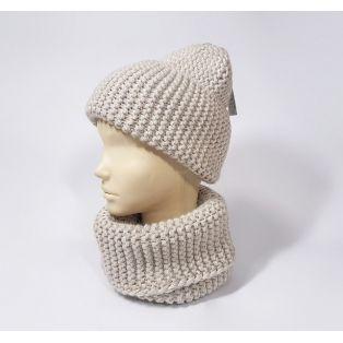 Комплект шапка и шарф зимний (светло-коричневый)