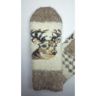 Варежки шерстяные детские с изображением оленя