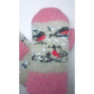 Варежки шерстяные детские с яркими снегирями
