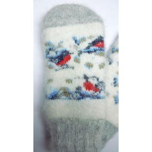 Варежки шерстяные детские с милыми снегирями