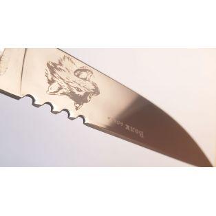 Охотничий нож Волк-1, длина лезвия 13 см, с гравировкой