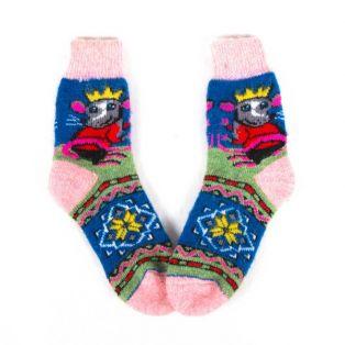 Комфортные шерстяные носки с изображением мышки с короной на голове