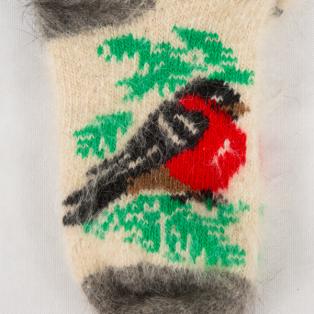 Милые вязаные зимние носки с оленем и птицей