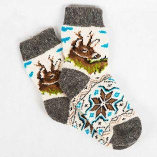 Натуральные зимние носки с вязаным оленем