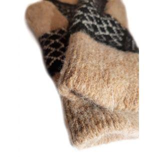 Варежки шерстяные мужские темно-коричневые с орнаментом
