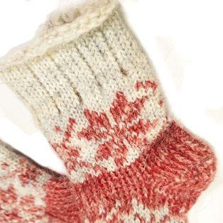 Носочки шерстяные, детские, со снежинкой, возраст - 1-3 года