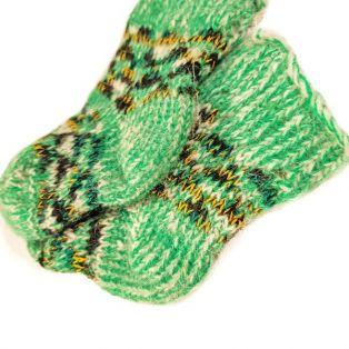 Носочки шерстяные, детские, зелёного цвета, возраст - 1-3 года