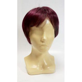 Парик из искусственных волос темно-каштанового цвета.