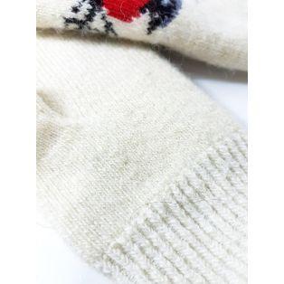 """Шерстяные варежки белые """"Снегири"""" (унисекс)"""