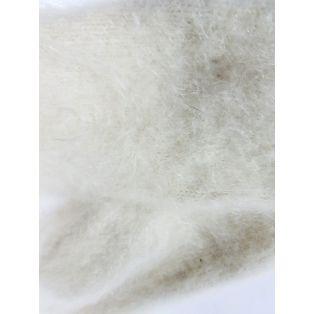 Варежки женские белые из шерсти кролика