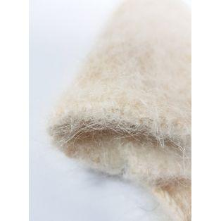 Варежки женские светло-коричневые из шерсти кролика