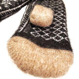 Варежки мужские, натуральная шерсть, бежевые, вязанные, с узорами