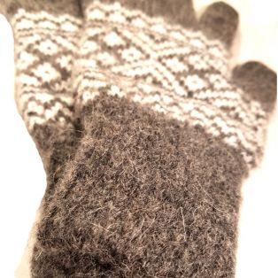 Варежки мужские, натуральная шерсть, коричневые, вязанные, с пальцами