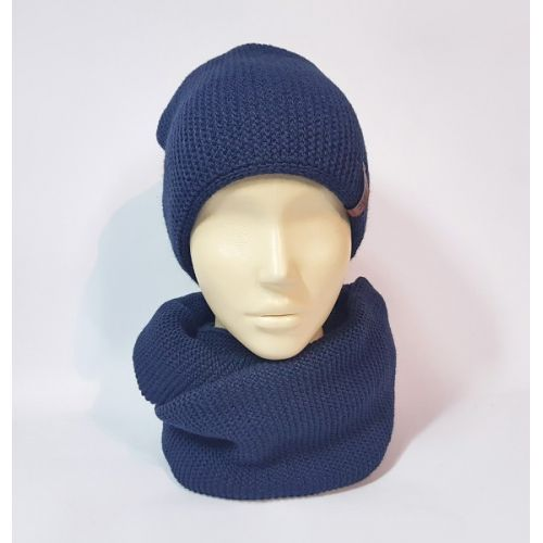 Комплект шапка и шарф (индиго)