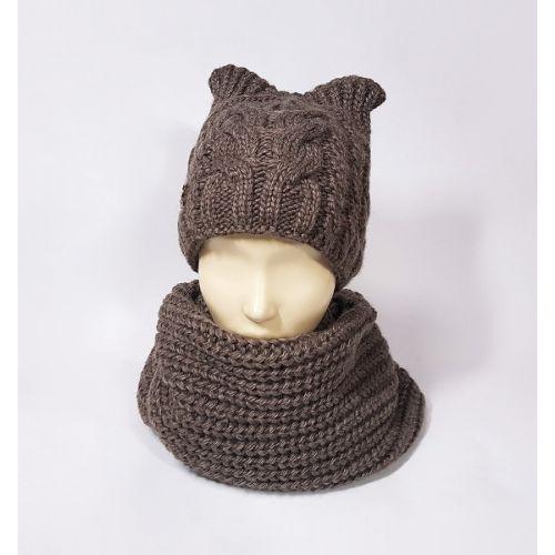 Комплект шапка и шарф женский (светло-коричневый)