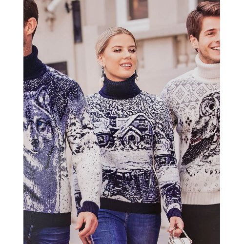 Женский чёрно-белый свитер с зимним пейзажем 130-131