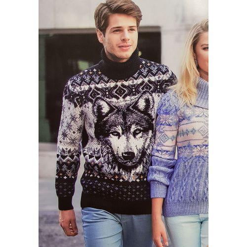 Мужской свитер с волком 230-260