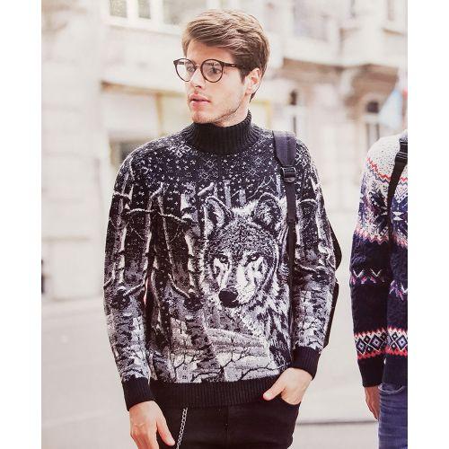 Мужской чёрный свитер с мордой волка 230-407