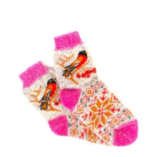Качественные шерстяные носки с рисунками в красных оттенках