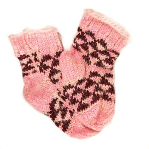 Носочки шерстяные, детские, розового цвета, возраст - 1-3 года