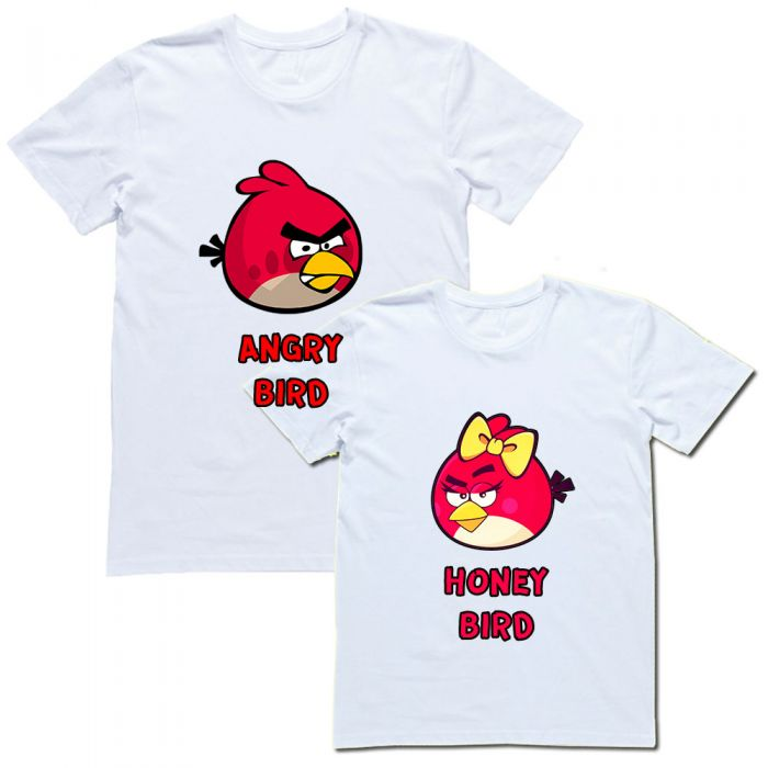 "Парные футболки ""ANGRY bird & HONEY bird"""