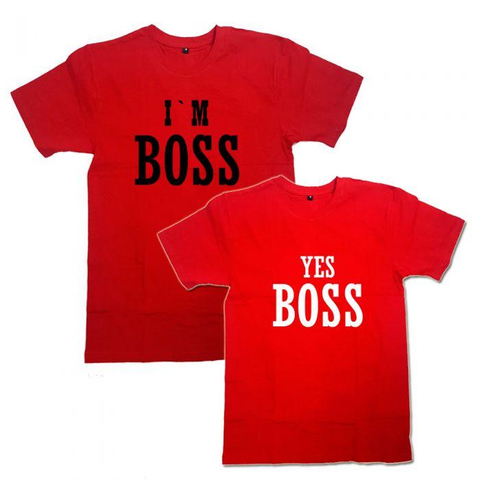 "Парные футболки с надписью ""I'm Boss&Yes Boss"""