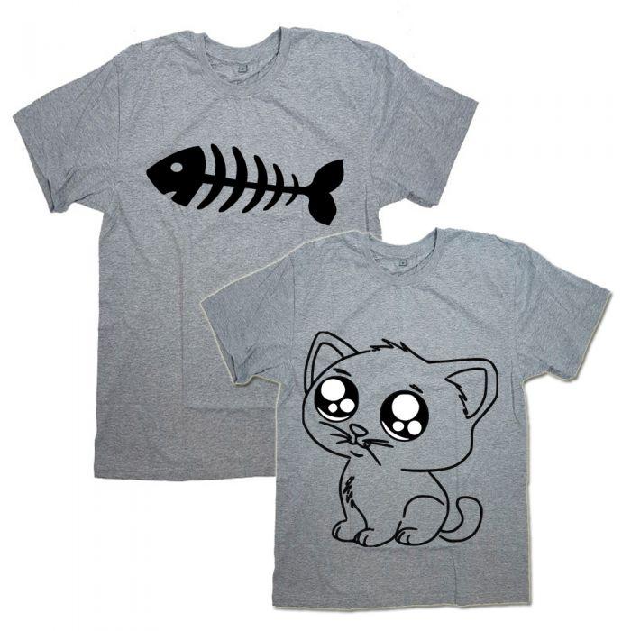 """Парные футболки с принтами """"Cat&Fish"""""""