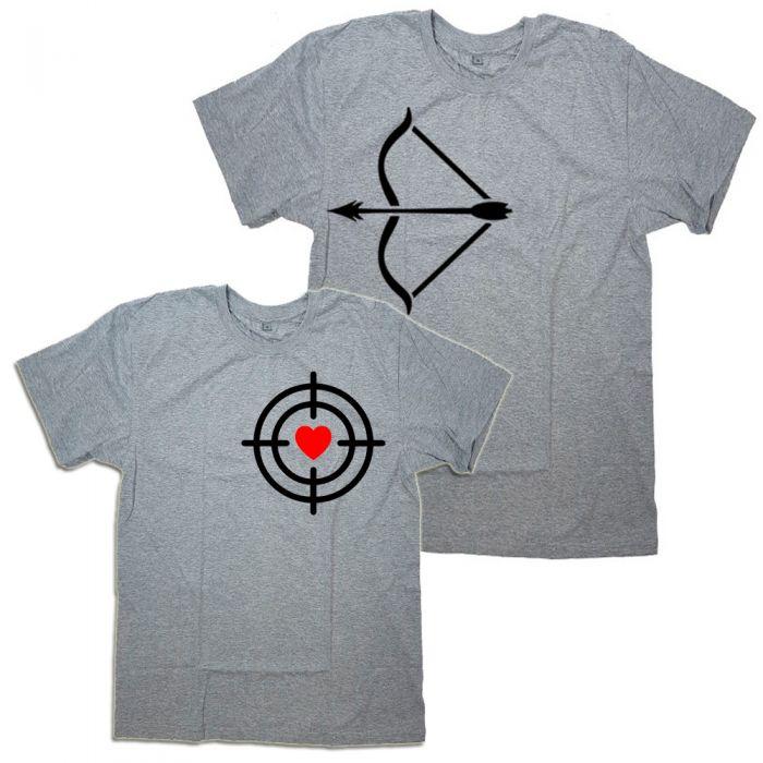 """Парные футболки с принтами """"Лук и мишень"""""""