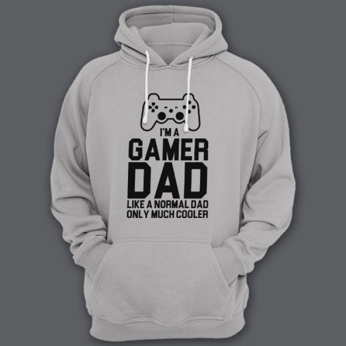 "Толстовка с капюшоном для папы с надписью ""I'm a gamer dad (like normal dad, only much cooler)"""