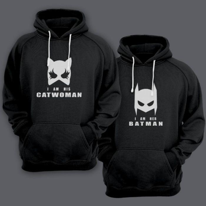 """Парные толстовки с капюшоном для двоих """"I am his Catwoman (Я его женщина-кошка)""""/""""I am her Batman (Я ее бэтмен)"""""""