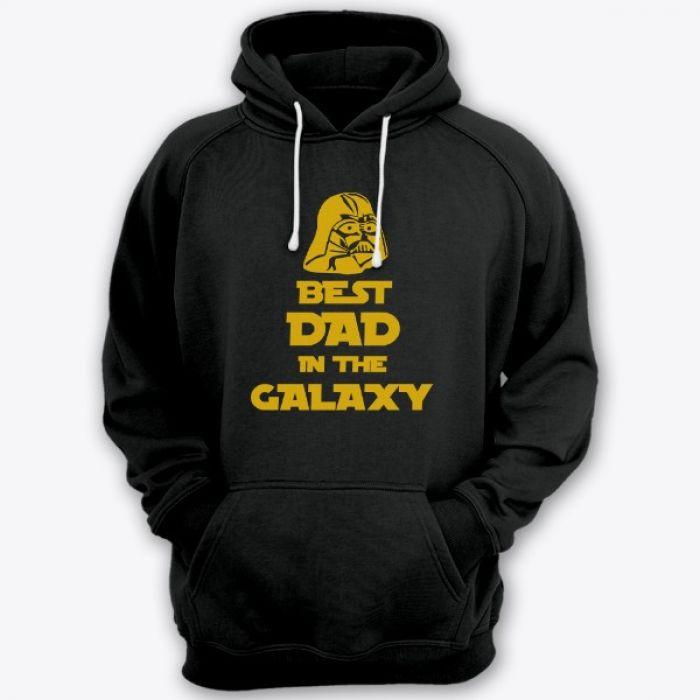 """Толстовка с капюшоном для папы с надписью """"Best dad in the galaxy"""""""