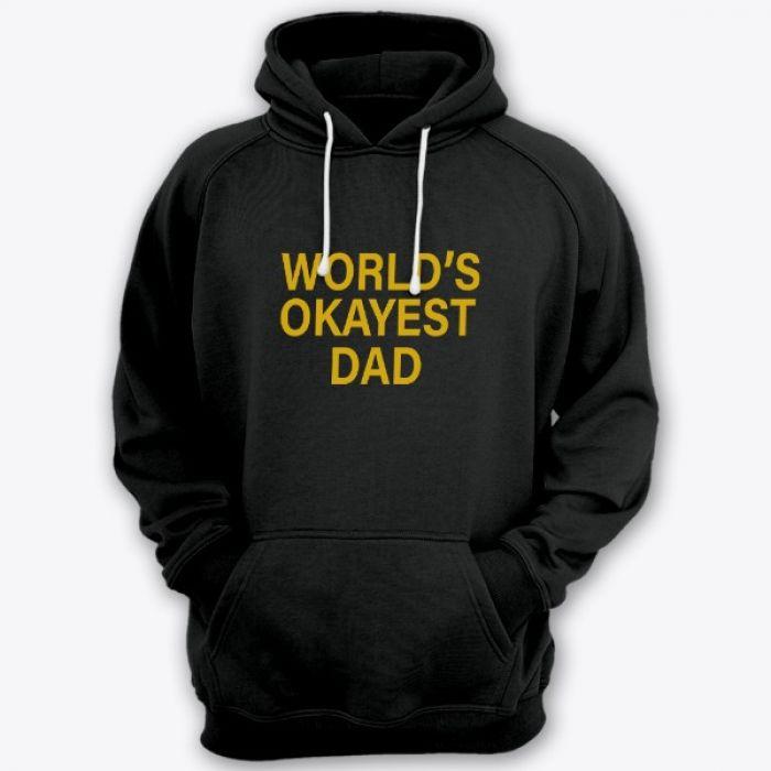 """Толстовка с капюшоном для папы с надписью """"World's okayest dad"""" (""""Самый нормальный папа в мире"""")"""