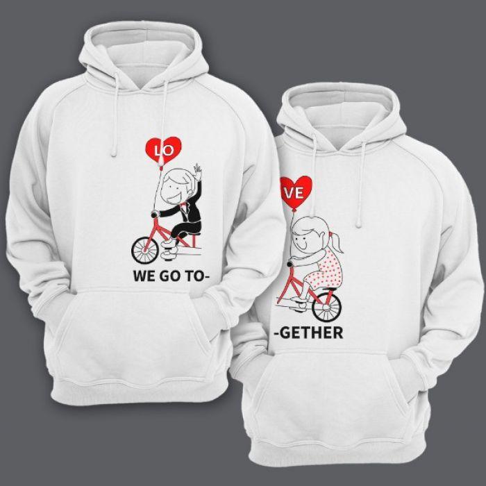 """Парные толстовки с капюшоном для влюбленных с изображениями мальчика и девочки на велосипеде и надписями """"We go"""" (""""мы едем"""") и """"Together"""" (""""вместе"""")"""