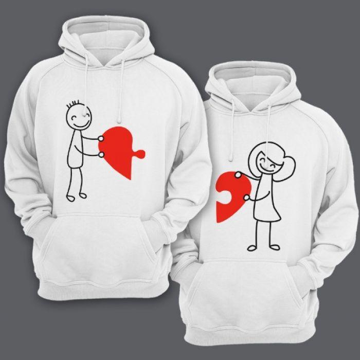Парные толстовки с капюшоном для влюбленных с изображениями мальчика и девочки, соединяющими сердце-пазл
