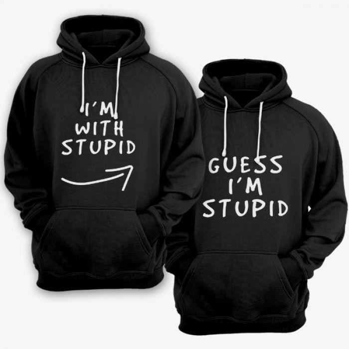 """Парные толстовки с капюшоном для влюбленных """"I'm with stupid"""" и """"Guess i'm stupid"""""""