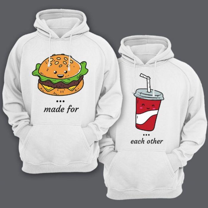 """Парные толстовки с капюшоном для влюбленных """"made for"""" и """"each other"""""""