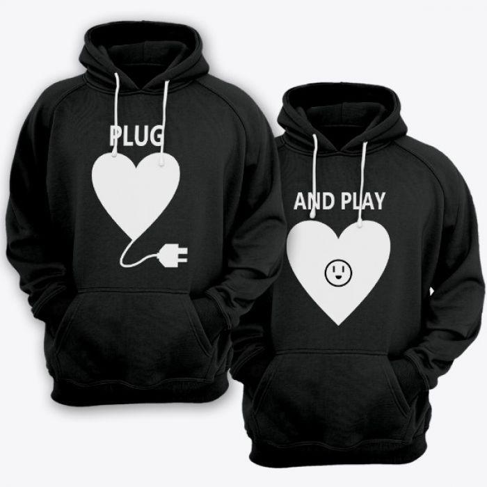 """Парные толстовки с капюшоном для влюбленных """"Plug"""" и """"And play"""""""