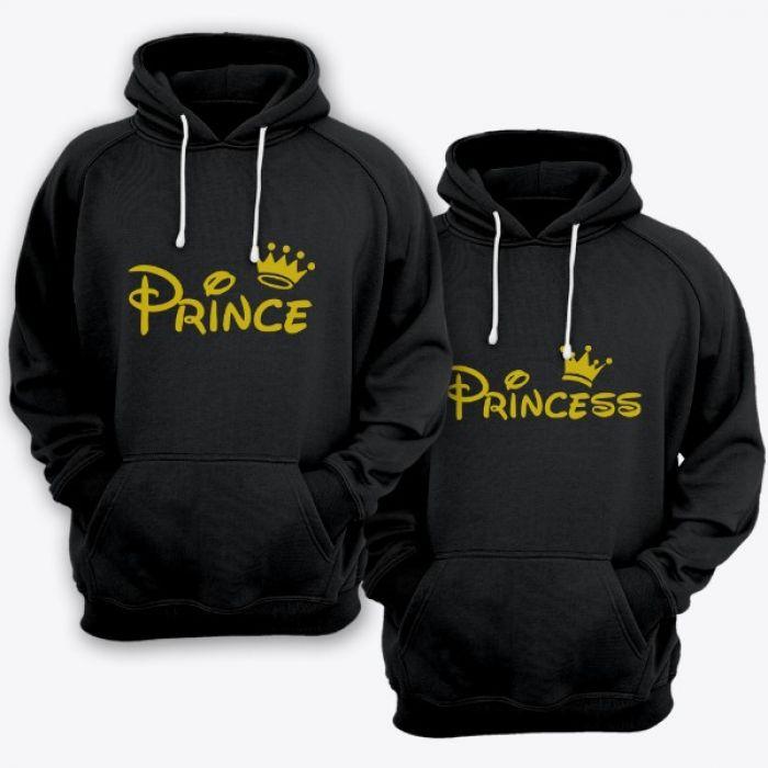 """Парные толстовки с капюшоном для двоих """"Prince (Принц)"""" и """"Princess (Принцесса)"""""""