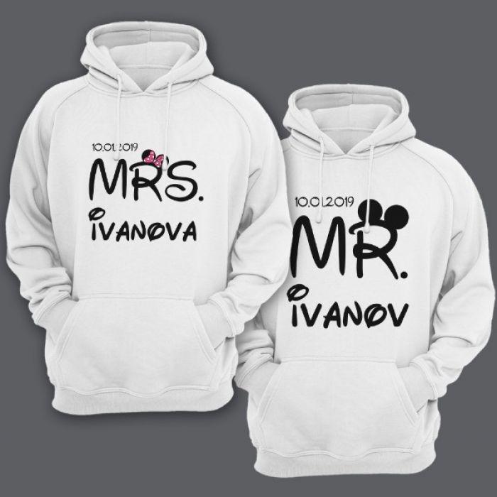 """Парные толстовки с капюшоном для мужа и жены """"Mr."""" и """"Mrs."""" с датой свадьбы и фамилиями"""