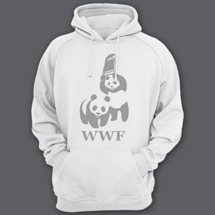 """Прикольные толстовки с капюшоном с пародией на логотип """"WWF"""""""
