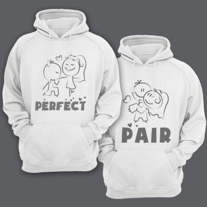 """Парные толстовки с капюшоном для влюбленных """"Perfect""""(Идеальная) """"Pair""""(Пара)"""