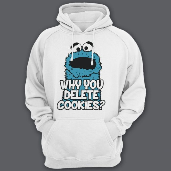 """Прикольные толстовки с капюшоном с надписью """"Why you delete cookies?"""" (""""Почему ты удаляешь кукис\печенье?"""")"""