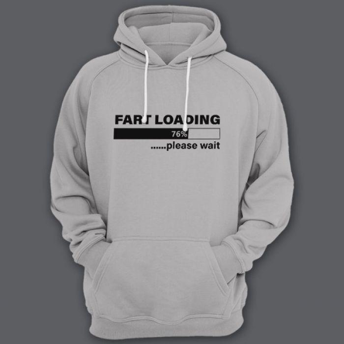 """Прикольная толстовка с капюшоном с надписью """"Fart loading..."""" (""""Пук загружается"""")"""